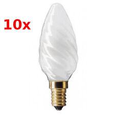 10x GE Kerze gedreht E14 60W Satin-weiß Glühlampe softweiß Glühbirne satiniert