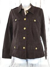 George ME Mark Eisen Military Cargo Blazer/Jacket Brown Long Slvs Pockets Sz 10