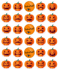 Halloween Pumpkins Cupcake Toppers Edible Wafer Paper Fairy Cake Topper