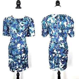 Calvin Klein Blue Abstract Printed Short Sleeve Dress Plus Size 16W Sheath