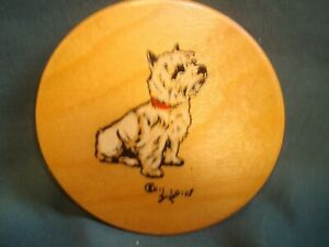 Scarce Cecil Aldin signed wooden Coaster - West Highland Terrier