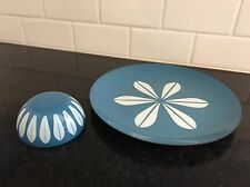 VTG MCM Catherineholm Blue Lotus Enamelware Plate and Bowl - NO CHIPS! Dansk era