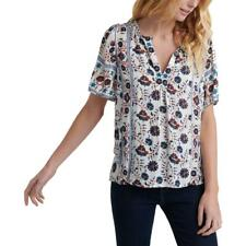 Lucky Brand Womens Floral V-Neck Peasant T-Shirt Top BHFO 7437