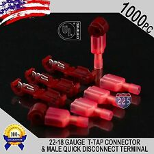 (1000) T-Taps + Male Disconnect Wire Connectors Red 22-18 AWG Gauge Terminals UL