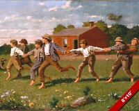 YOUNG CHILDREN BOYS PLAYING OUTSIDE OIL PAINTING ART REAL CANVAS GICLEE PRINT
