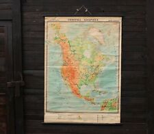 Rare North America School Pull Down Chart Large Original 70s Vintage School Map