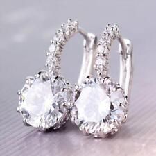 Rhinestone Wedding Cubic Zirconia Clear Crystal Earrings White Gold Plated