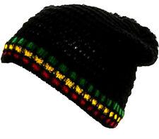 RASTA Black Knitted Cotton - BEANIE Hat - FREE UK P&P !
