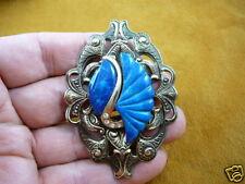 (br-65) Blue Faux lapis stone white brass brooch pendant