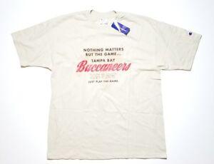 NWT Vtg CHAMPION Men's 90s Deadstock Beige NFL Tampa Bay Buccaneers T Shirt - XL
