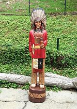 John Gallagher Carved Wooden Cigar Store Indian 6 ft. Red Coat Bear