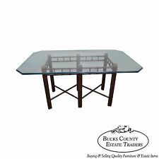 Vintage Faux Bamboo Tortoise Shell Painted Glass Top Dining Table