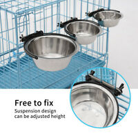 Steel Hanging Food Water Bowl For Crate Cages Coop Dog Parrot Bird Pet M/L/XL WD