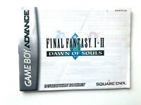 FINAL FANTASY I & II DAWN OF SOULS Gameboy Advance GBA Instruction Manual Book