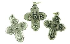 Silver Tone Holy Trinity Edge 4 Way Cross Medal Pendant, Lot of 3, 1 1/2 Inch