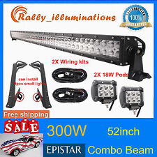 "52"" 300W+2X 18W Spot LED Light Bar+Mount Brackets for Jeep JK Wrangler+2X Wiring"