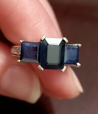 Emerald & princess cut natural sapphire 3 stone ring in 14kt white diamond band