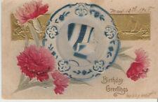 1908 Embossed Dutch Girl Birthday Greetings**