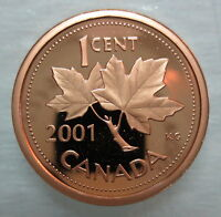 2001 CANADA 1 CENT PROOF PENNY HEAVY CAMEO COIN