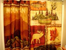Lodge Cabin Mountain Shower Curtain - Bear, Canoe, Cabin, Leaf, Trout Fish