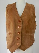 Vintage Gabriella Benelli Womens Brown Leather Suede Waistcoat Size UK Large
