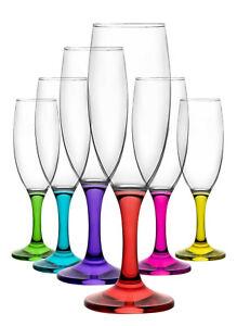 LAV - Coral Sektgläser / 6-teiliges farbiges Gläser Set im Retro Style 190 ml