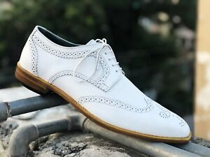 Handmade Oxford Brogue Shoes, Men white Leather Shoes, Dress Formal Classic Shoe