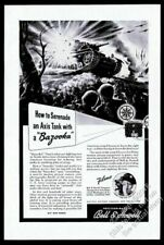 1943 US Army Bazooka soldiers vs German tank Bell & Howell vintage print ad