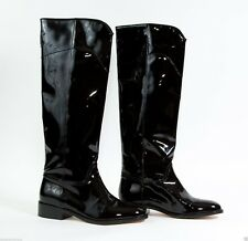 CHANEL BLACK PATENT LONG RIDING BOOTS SIZE 35.5