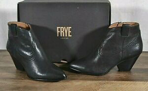 Frye Reina Bootie Shoes Western 9 MED Black Leather Ankle Boot 79257 Side Zip