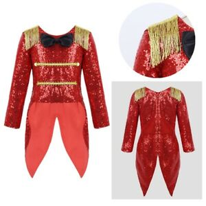 Young Girl Coat Halloween Cosplay Costume Kids Shiny Sequin Long Sleeves Clothes