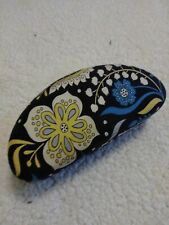 Vera Bradley Retired Navy Blue Floral Paisley Hard Eye Glass Case      F-3