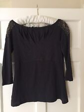 Ladies navy embellished T Shirt From Anthropologie. Size XS