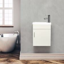 16'' Bathroom Vanity Floating Wall Mount Cabinet Vessel Sink Faucet Combo White