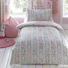 Cute Girls Bunny Rabbit Reversible Toddler Cot Bed Duvet Cover Bedding Set Gift