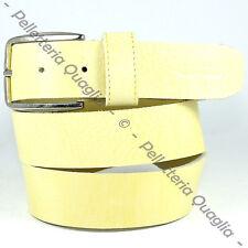 Cintura Pelle Giallo Cuoio Uomo Donna Artigianale Made In Italy 3,5 cm c0
