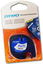 NON FADING! DYMO LETRATAG LABEL PLASTIC WHITE LETRA TAG LT 100 TAPE RUBAN NASTRO