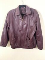 Womens Leather Jacket Coat Burgundy Red - Size Small