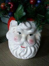 Rubens Original Santa Claus Head Holly Christmas Holiday Vase Planter Japan.