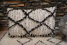XXL Vintage Beni Ourain Wedding Blanket Handira Berber Moroccan Bohemian Pillow