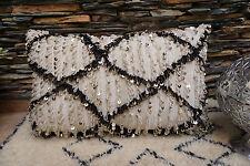 XXL Beni Ourain Wedding Blanket Handira Berber Moroccan Vintage Bohemian Pillow