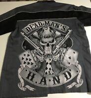Biker Apparel Men's XL Gray Short Sleeve Shirt Dead Man Hand Skull Gun Card Bike