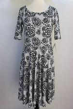 XL LuLaRoe Noir Blanc Nicole Dress Black White Flowers Cottony Lightweight 22