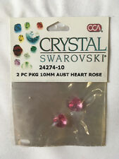 Crystal SWAROVSKI beads. Rose, Hearts. 2 pieces 10mm. unopened.