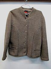 Arber Strickmoden cardigan boild wool 44 green grey metal buttons jacket Germany