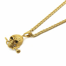 """Stainless Steel Gold Plated Rose Skull Pendant 4mm 24"""" Cuban Necklace Chain"""