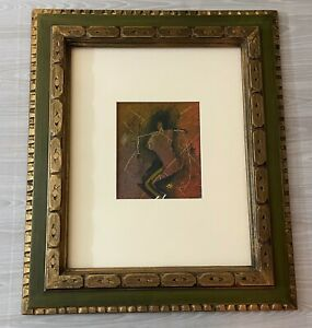 Abstract Vintage 1991 Painting Mixed Media Framed & Signed by Holly Roberts