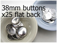 38mm self cover metal BUTTONS FLAT backs (sz 60) 25 QTY + FREE instructions