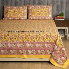 Yellow Floral Printed Fitted Sheet Queen Bed Cover Cotton Bedspread Pillow set