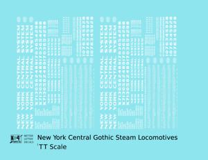 K4 TT Decals New York Central Gothic Steam Locomotive White